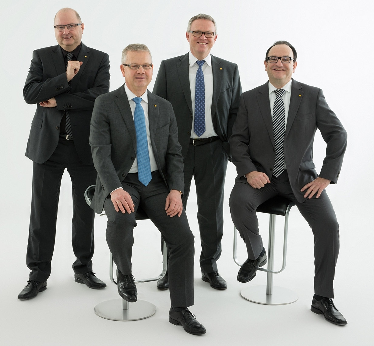 Der neue Vorstand der Sto SE & Co. KGaA (v.l.n.r.): Michael Keller, Markenvertrieb Sto Deutschland, Distribution und Zentrale Dienste; Rainer Hüttenberger, Marketing, Markenvertrieb Sto International und Vorstandssprecher; Gerd Stotmeister, Technik und Rolf Wöhrle, Finanzen. Foto: Sto SE & Co. KGaA